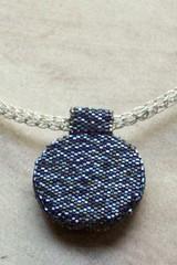 Viking Knit Necklace (ambrosianbeads) Tags: face silver knit peyote viking pendant delica beadweaving cabochon ebw