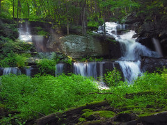 Slides (Nicholas_T) Tags: summer creek forest waterfall stream hiking pennsylvania falls creativecommons poconos ravine deciduous pikecounty delawarestateforest dappledlight milfordtownship sawkillcreek sawkillfalls