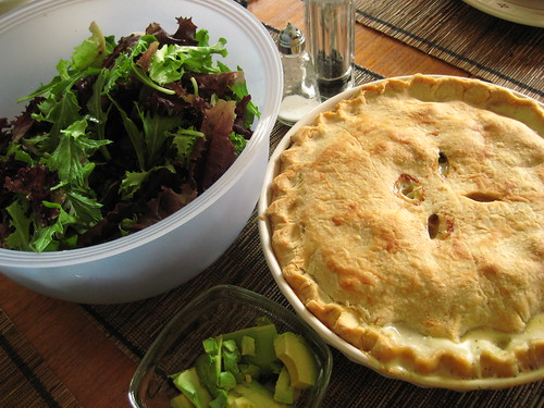 chicken pot pie and field greens