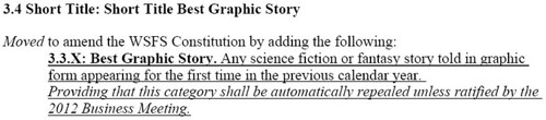080823 - 科幻/奇幻文學界的最高榮譽『雨果獎 The Hugo Awards』計畫於2010年增設《Best Graphic Story 最佳漫畫/圖繪小說》全新獎項