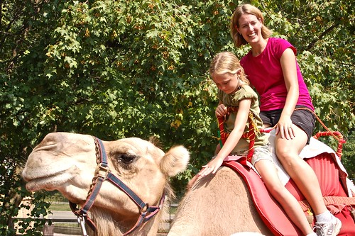Marla and Livi on camel