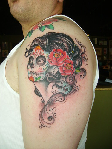 day of dead girl tattoo design. day of the dead girl tattoo