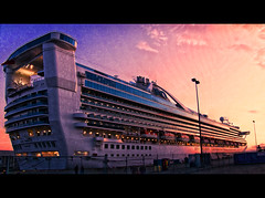 Princess Panorama (ecstaticist) Tags: cruise sunset vacation sky panorama canada point raw ship bc victoria ogden pseudohdr mrcontrast