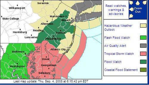 NWS Advisory Map 9-4-08