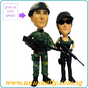 Full Custom 3D Caricature Soldier Couple Figurines