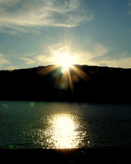 Waiting for Hannah (blamstur) Tags: sunset sun lake water clouds pond fridaynight gmt walkerpond
