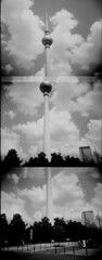 (rougerouge) Tags: bw berlin film tv holga fernsehturm tripleexposure deutschetelekom multix autaut invitedby