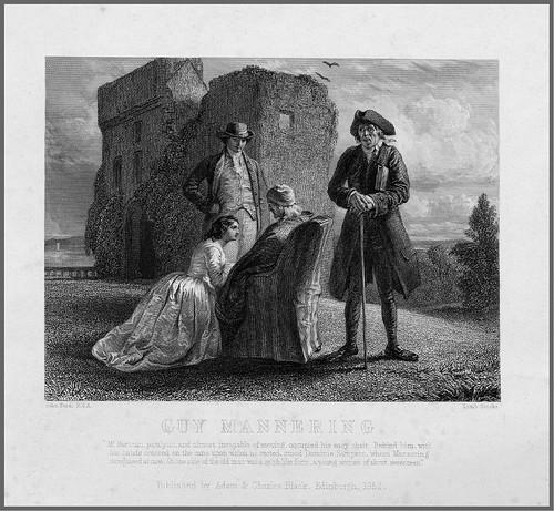 004- Grabado en acero de Lumb Stocks de un dibujo de Jon Faed para una escena de la novela de W. Scott Guy Mannering 1852