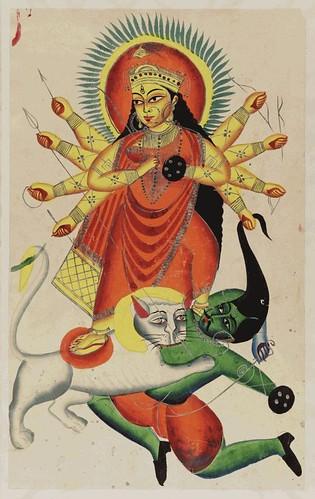 004- Durga montada en un leon lucha contra el demonio