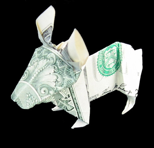 money origami rabbit