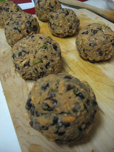 Spicy Black-Bean Cakes, Divided into 8 Balls