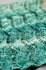 Lace Ribbon Scarf (SourCherries) Tags: teal avery knitty handspun veronik optim laceribbonscarf