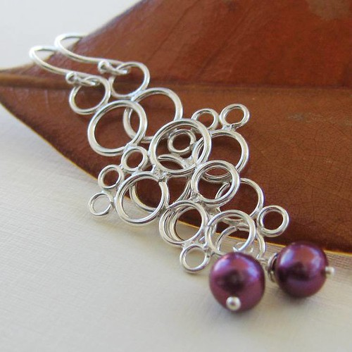Simply Silver Earrings with Raspberry Pearl Dangles - Bali Sterling Silver and Raspberry Pearl Earrings