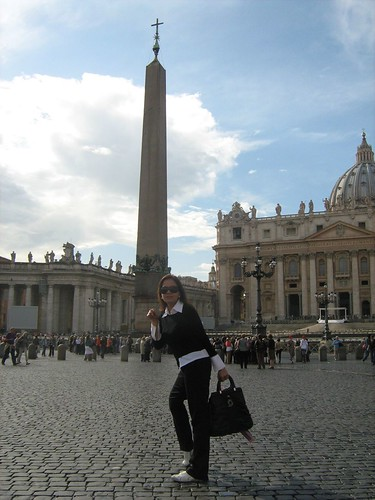 Ida stands before the Obelisk at Saint Peter's Square