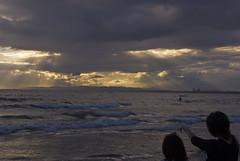 Sundown View with Chigasaki Surf (aeschylus18917) Tags: ocean sea beach japan landscape sand nikon scenery surf waves sail  windsurfing d200 kanagawa pxt   chigasaki kanagawaken pxi   kanagawaprefecture   chigasakishi danielruyle aeschylus18917 danruyle druyle   shnan