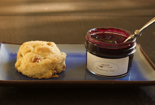 Raisin scone and Spoon's Blueberry Jam