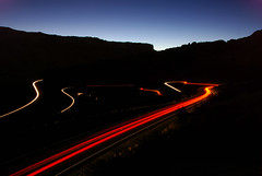 Red traffic leaving Arches National Park... 20081015_1576 (listorama) Tags: night geotagged lights utah pattern traffic headlights moab archesnationalpark taillights us191 ralphtripod ut2008oct