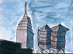 Empire State (O Ricard) Tags: nyc newyork ink manhattan watercolour empirestate oricard