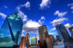 Dallas (Matt_Clarkson) Tags: city blue urban usa reflection building glass skyline architecture clouds skyscraper canon buildings dallas ross downtown texas skyscrapers tx wide sigma dfw 2008 1020 hdr sanjacinto 30d fountainplace photomatix canon30d 5photosaday