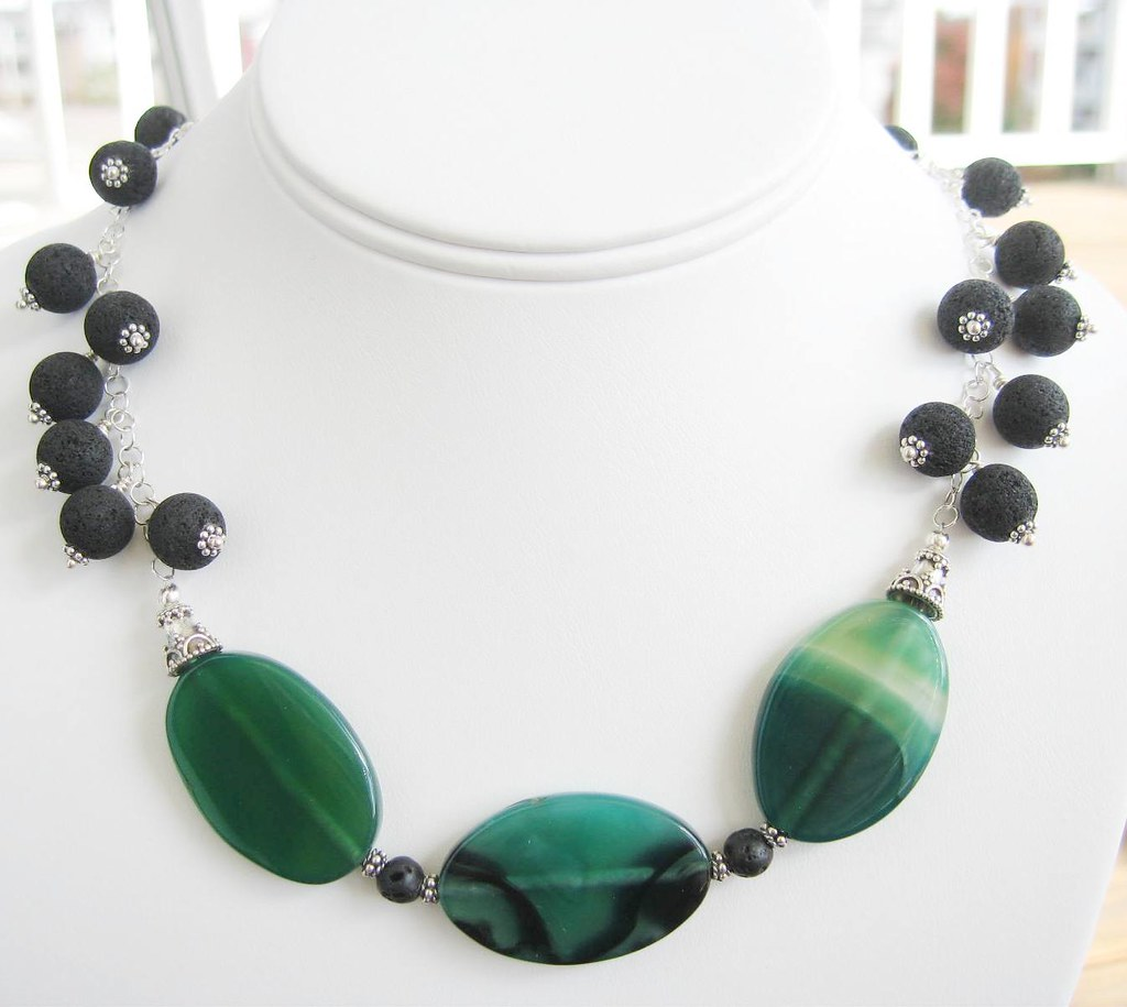 Evergreen Necklace - Green Agate, Black Lava Beads and Sterling Silver Chain Necklace