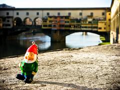 Gnome strolling past Ponte Vecchio, Florence, Italy (Marty Portier) Tags: bridge italy home river florence gnome away ponte amelie shops ameliepoulain vecchio poulain