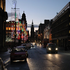 Glasgow (Peter Gutierrez) Tags: christmas street uk light urban streets building cars film wet public car rain saint st architecture night buildings square lights evening noche scotland photo george europe european place nocturnal traffic time market nacht britain pavement glasgow united great scottish kingdom sidewalk peter nighttime scot gutierrez british dear brit georges nocturne notte scots brits glesga europeans glaschu glaswegian nui glasgae glesca petergutierrez