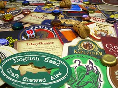 Beer Coasters and Caps (walknboston) Tags: macro beer brewing stock creativecommons beermats stockphoto beercoasters beercaps craftbeer stockphotograph