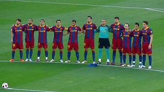 Een minuut stilte voor de wedstrijd FC Barcelona - Espanyol / Barcelona