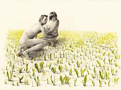 Threat (wild garlic) (kirsty.whiten) Tags: family wild woman tree nature forest naked nude mammal apocalypse mother breastfeeding feminist utopia feral dystopia postapocalypse