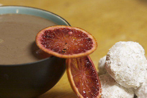 Cinnamon Orange Hot Chocolate with Cinnamon tinted Mexican Wedding Cookies