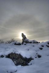 Lava troll (_olasso) Tags: winter sky sun snow cold sunshine rock stone backlight landscape lava iceland nikon dramatic surreal halo mysterious troll shining hafnarfjrur hdr rockformation d40x