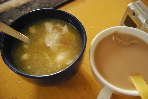 Onion soup with poached eggs, Chai tea with almond milk