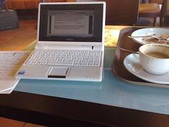 Beim Verfassen eines Blogartikels am Flughafen Düsseldorf (am eeePC)