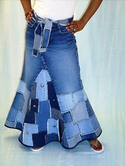 Patch Denim Skirt, front (brendaabdullah) Tags: handmade garments