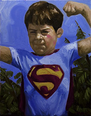 Portrait of the Artist as a Young Superman (joegranskiart) Tags: boy portrait selfportrait art painting costume paint super superman hero superhero oil cape superboy oilpainting oilpaint dailyplanet joegranski granski