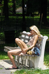 woman newyork sunglasses bench sandals manhattan cellphone barefoot hudsonriver bluetooth riversidepark