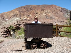 i almost tipped this over trying to climb in (jkenning) Tags: california car june town ghost roadtrip mining calico ghosttown cart 2008 gregoryw gregandstevesroadtrip