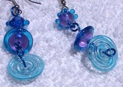 flying saucer glass earrings