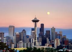 Seattle Moonrise HDR (David M Hogan) Tags: seattle sunset moon skyline washington cityscape dusk moonrise spaceneedle kerrypark hdr davidhogan