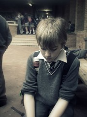 Opie, he was really sad that day :( (A Contemplative Daughter) Tags: school boy sad schooluniform