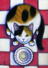 Hungry Calico Cat (Heidi Shaulis) Tags: red pet art colors animal cat chat bright oilpainting efa catpainting westcorinthstudio heidishaulis
