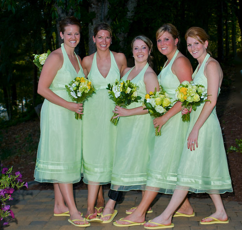 Bridesmaids in Thongs - The bridesmaids couldn't wait for the formals to be done, to get out of their heels.