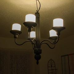 Lights, Day 14: Dining Room Chandelier (Scott Coulter) Tags: lamp canon lights wroughtiron chandelier s2is hdr squarecrop photochallenge fdrtools photochallengeorg julychallenge2008