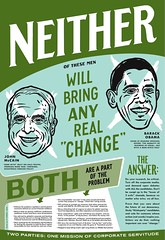 """Neither One"" Political Poster (pjchmiel) Tags: illustration design screenprint obama mccain presidentialelection greenparty electionreform politicalposter barackobama ralphnader thirdparty johnmccain neither cynthiamckinney pjchmiel twopartysystem election08 decision08 postersofdiscontent politicalindependent"