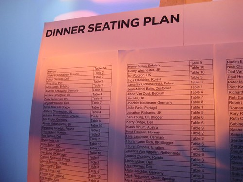 Dinner Seating Plan - Dell Latitude Launch
