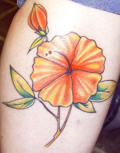 Hippie's Custom Tattoos Orange Flower Detail