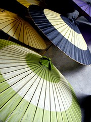 japanese umbrella (minou*) Tags: blur green japan umbrella japanese vert bamboo bleu round  nippon japon japonais obake         oilpaper karakasa bambooframe 1on1colorful  oilpaperumbrella