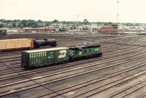 Burlington Northern RR 1950's era EMD SD-9 roadswitcher working at Clyde yard. Cicero Illinois. June 1985. by Eddie from Chicago