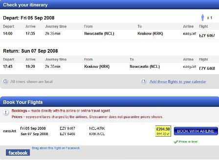 Skyscanner flight summary