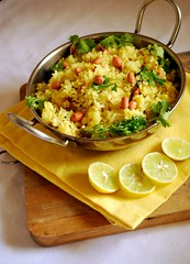 Pohe (shubhangi athalye) Tags: food india lemon rice indian peanuts snack maharashtra poha mumbai coriander indianfood puffed maharashtrian pohe